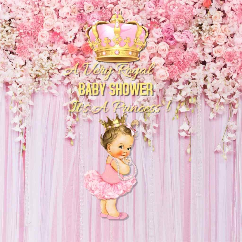 Decoracion Baby Shower Nina De Princesa.Rosa Baby Shower Telon De Fondo Princesa Real Fiesta Decoracion Para Nina Corona De Oro Para Bebe Fondo De Cumpleanos Flor Cutrain Sm 046
