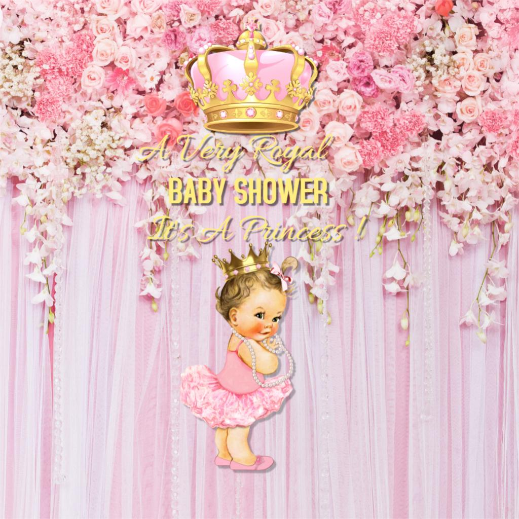 Pink baby shower backdrop royal princess party decoration - Decoration baby shower girl ...