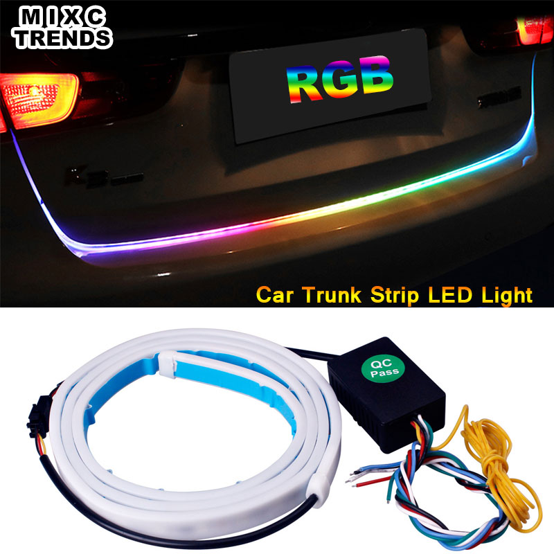 MIXC TRNEDS Multi-color RGB LED Strip Rear Trunk Dynamic Streamer Turn Signal Tail LED Warning Light Luggage Compartment Lights blue red white yellow led strip tail streamer brake turn signal warning lighting car styling dynamic streamer drl tail lights