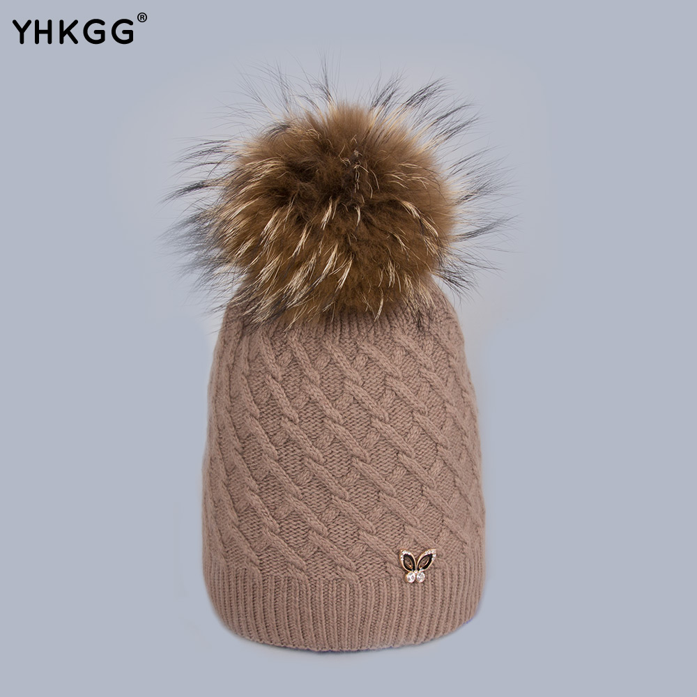 YHKGG Beanies Cap 2016 Fashion Cute Hats with Small Rabbit Head Removable Fur Ball Multi Winter Warm Ladies Knitted Hat H0166 2017 yhkgg the girl s hat warm and comfortable in winter hats the ornament of a flower cute baby hat knitting hat