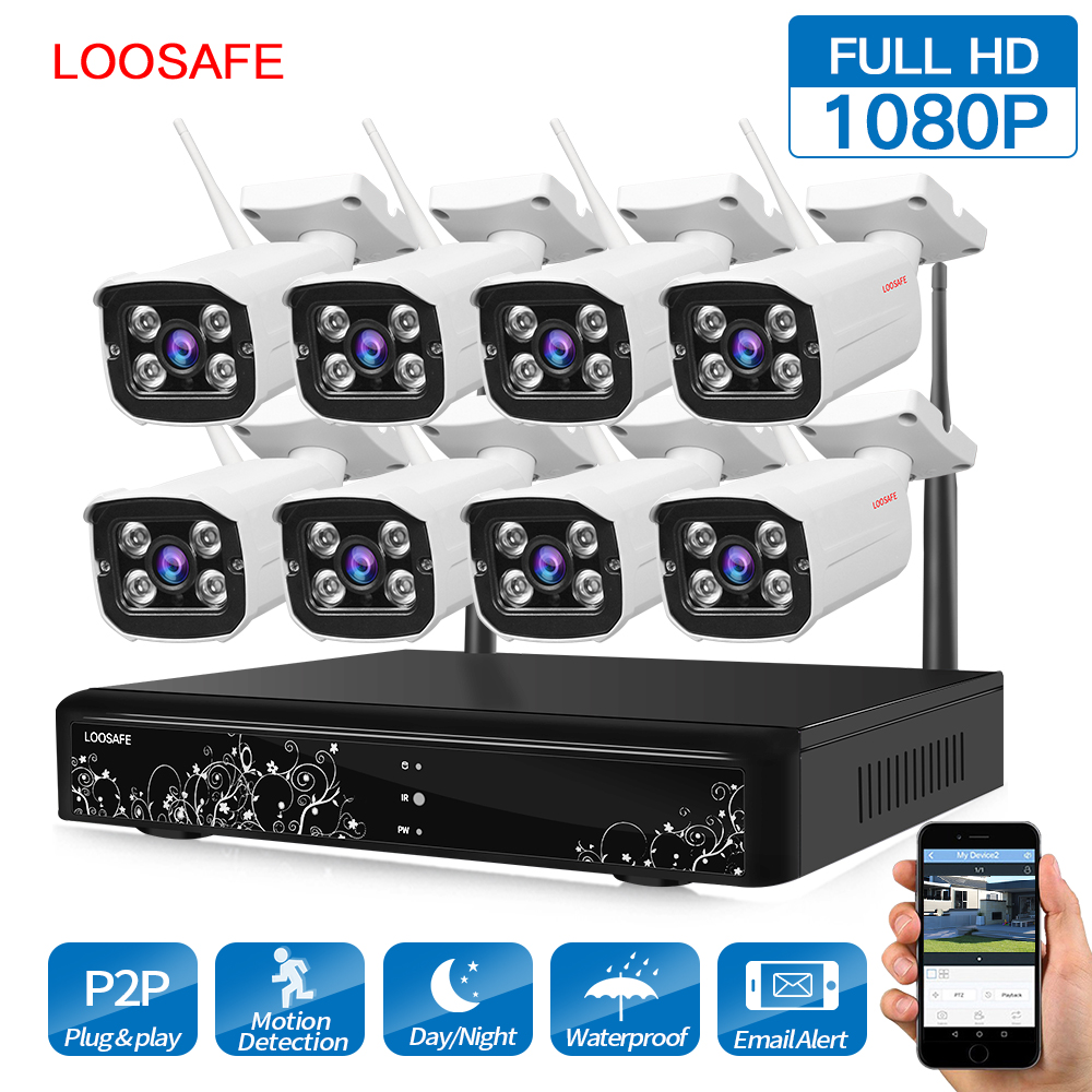 LOOSAFE Surveillance Security Camera CCTV NVR Security Kit 8CH 2MP HD wireless Home CCTV Outdoor waterproof IP Camera System free shipping 700tvl 8ch hd ir cctv security camera system security outdoor waterproof camera security surveillance system kit