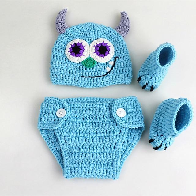 Newborn Baby Crochet Cartoon Monster Photography Props Outfits
