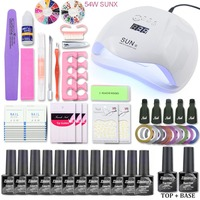 Nail Set Gel Nail Polish Kit UV LED Lamp Dryer 72W/54W/48W/40W With 12pcs Nail Gel Polish Set For Nail Art Manicure Tools Kit