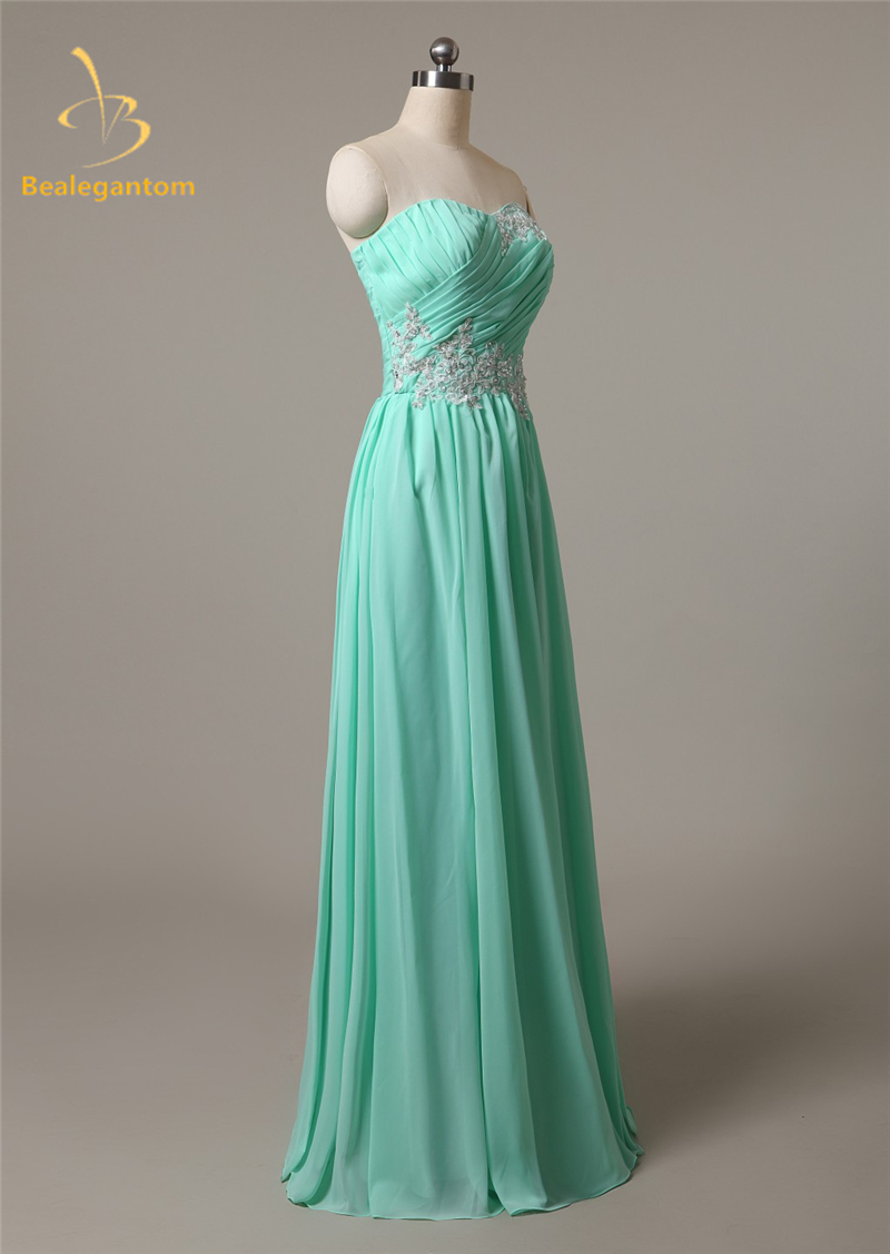 Bealegantom Sexy Long Chiffon Evening Dresses 2018 With Beaded Appliques  Stock Formal Prom Party Gown Vestido Longo QA1117-in Evening Dresses from  Weddings ... 7462b3c474fa