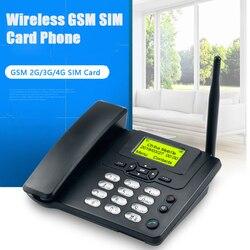Gsm sim cartão fixo telefon com rádio fm id chamada telefone sem fio telefone fixo para casa preto