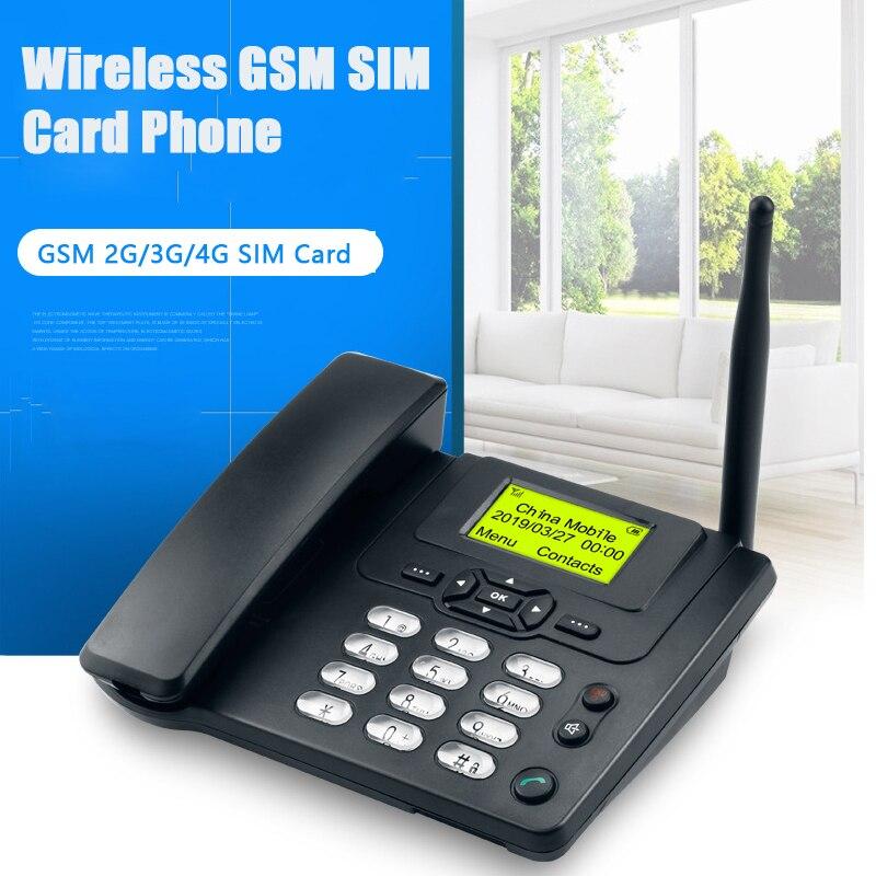 Téléphone fixe avec carte SIM GSM avec identification d'appel Radio FM téléphone fixe sans fil pour téléphone fixe noir