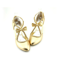 2015 Lady Beautiful Bowtie Formal Dress Shoes Silver Gold Sweetness Bridal Dress Shoes Party Prom Dancing