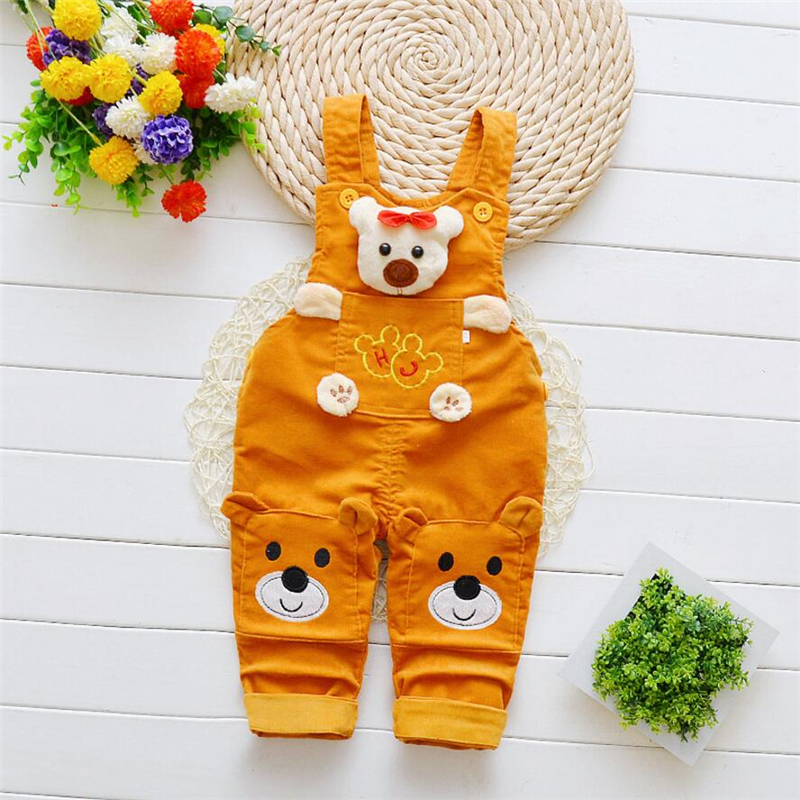 BibiCola infant children boys overalls baby boys spring autumn fashion cartoon bear bib pants denim pants kids boys strap pants