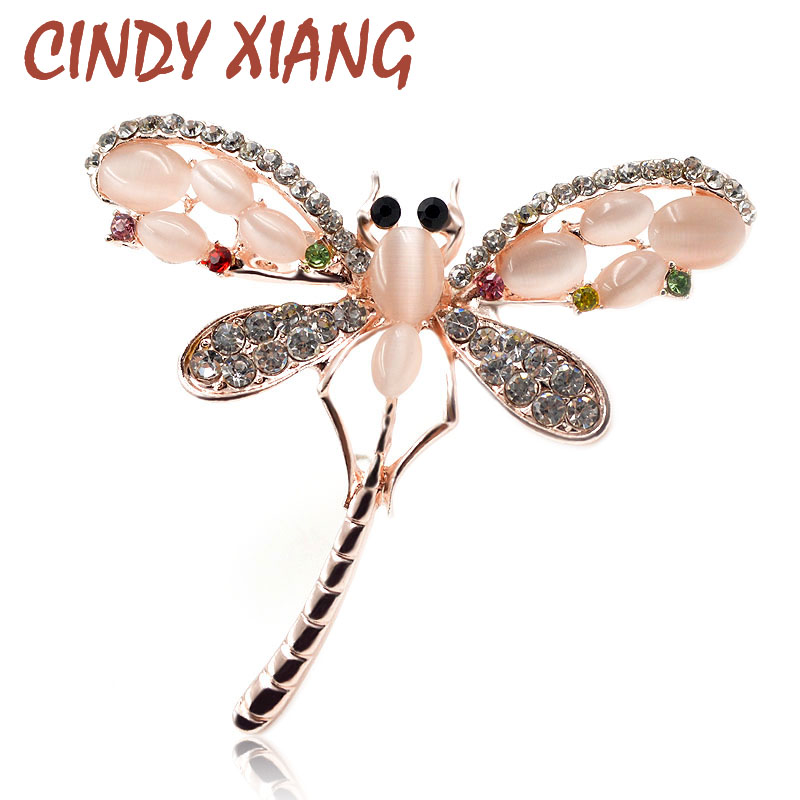 CINDY XIANG Opal ir Kalnų krištolas Dragonfly Sagės moterims Cute Insect Broch Pins Dress Accessories Juvelyrika 2017 New Arrival