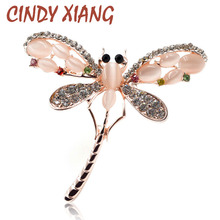 CINDY XIANG Opal and Rhinestone Dragonfly Brooches for Women Cute Insect Brooch Pins Dress Accessories Jewelry 2017 New Arrival