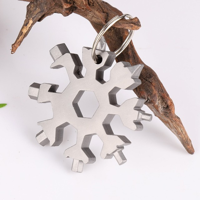 Outdoor Survival Tourism Hunting Multi Tool Stainless Steel 18 IN 1 Snowflake Camping Equipment EDC Tactical Card+Ring New