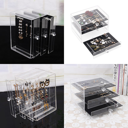 TONVIC Acrylic Earring Colletion Necklace Storage Case Jewelry Display Drawer Type Box Black/Clear clear acrylic jewelry cosmetic storage display box necklace bracelets gift boxes