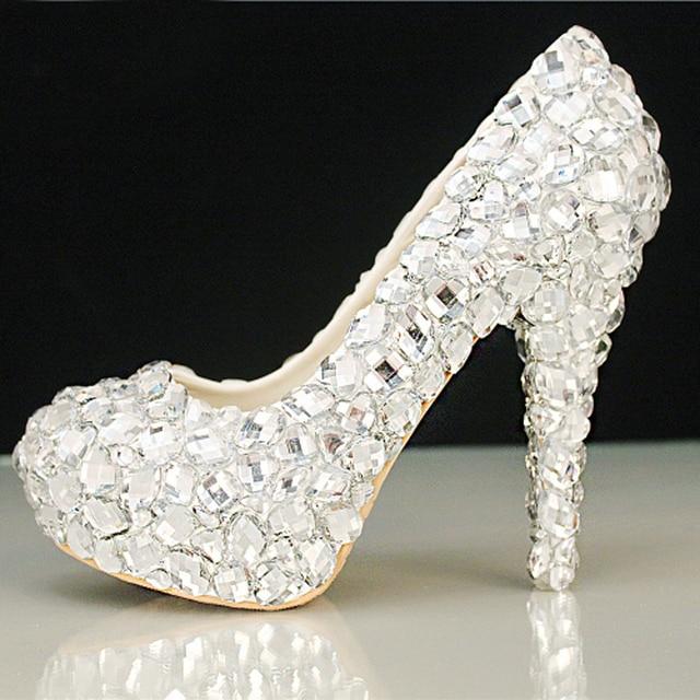 6af9bbf530f63 Fashion Beautiful Crystal High Heels Glittering Platform Woman Pumps Elegant  Banquet Prom Shoe Diamond Wedding Shoes