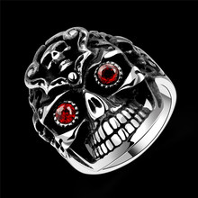 Cool Design Big Ghost Skull Face Ring 316L Stainless Steel With Red Eyes Punk Finger Ring  Band Rock Jewelry for Halloween Gift cool stainless steel rhinestone skull finger ring