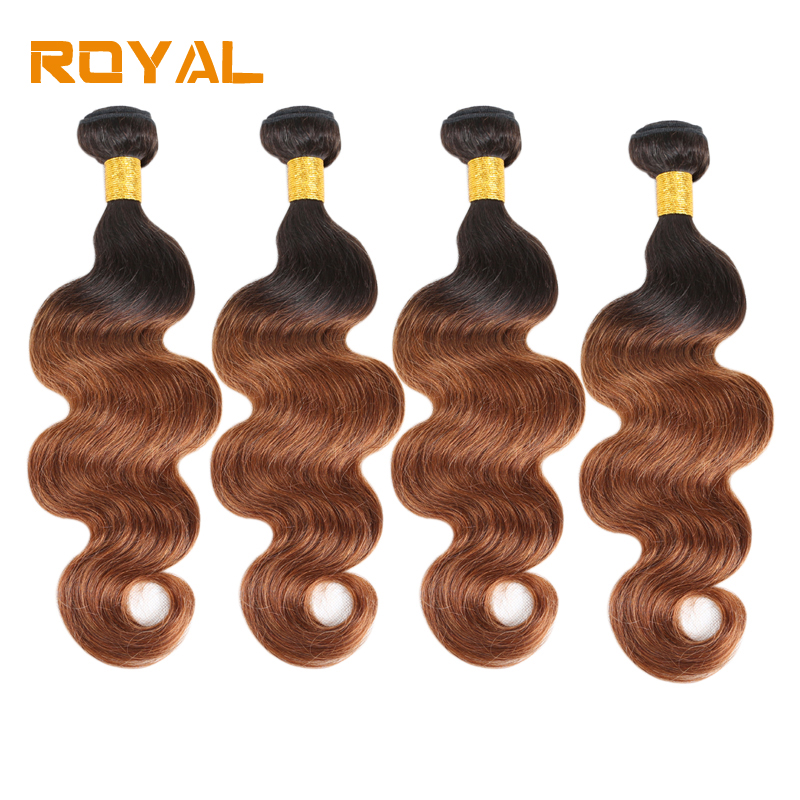 Pre Colored Peruvian Body Wave Weft Hair 4 Bundles 1b/30 Non Remy 100% Human