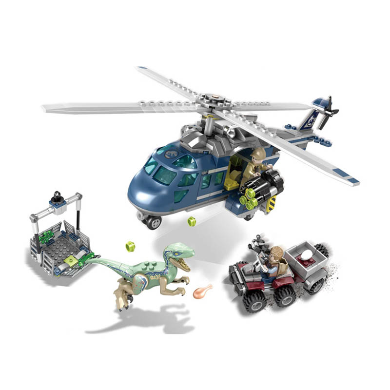 Jurassic World Park SY1079 1080 1081 Raptors Car Helicopter Dinosaur Raptor protection Blocks Bricks park