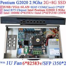 B75 Брандмауэр Маршрутизатор Сервер с 6 Gigabit LAN 2 SFP Волокна Intel Pentium G2020 Процессор