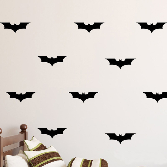 POOMOO Decor 24pcs/set Batman DIY Wall Decal Wall Art Batman Decorations  Vinyl Decal,