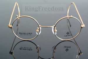 Image 3 - 42mm Vintage Round Gold Wire Rim Eyeglass Frame Spectacles Glasses Rx able 727