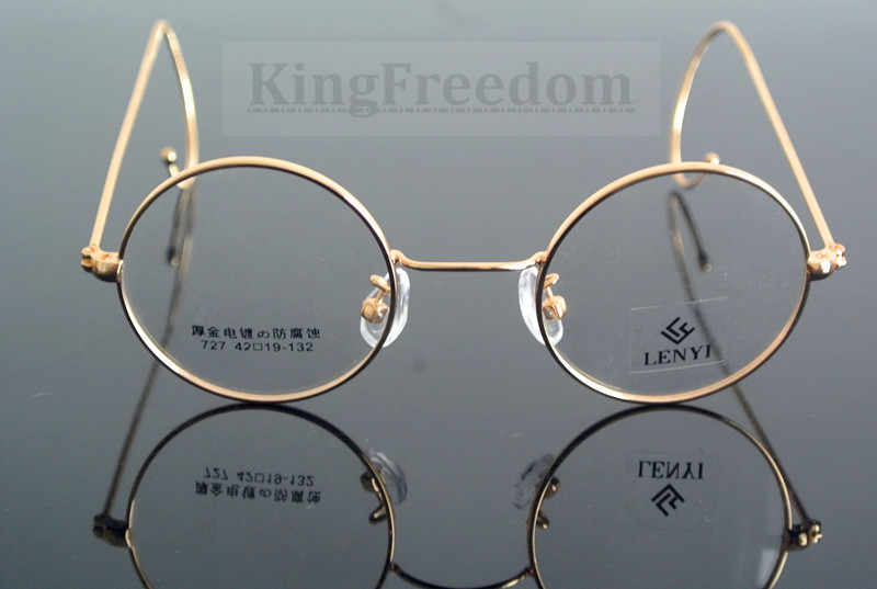 a4e5de01a0 ... 42mm Vintage Round Gold Wire Rim Eyeglass Frame Spectacles Glasses Rx  able 727 ...