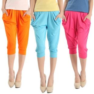 Fashion Lady's Colorful Drape Harem Pants Hip-Hop Stretch Trousers Free Shipping W3002