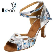 HXYOO Professional Latin Dance Shoes Women Salsa Ballroom Shoes Ladies Satin Soft Sole Buckle Blue Flower White Silver WK011