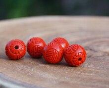 11mm *100* Cinnabar Beads Carved FU Word Flower Lotus Red Round Bead Mala Japa Mala Bracelet Jewellry Findings DIY Accessories