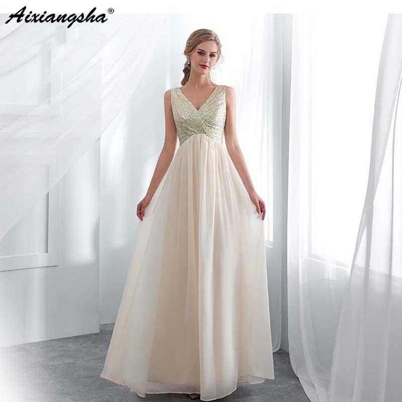 Pas cher Champagne 2019 robes de soirée a-ligne v-back Top paillettes robe de soirée en mousseline de soie avec bretelles robes de bal robe de soirée