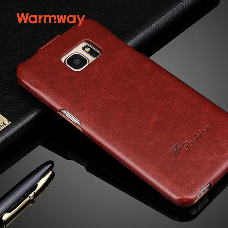 Warmway Luxury PU Leather Flip Cover for Galaxy S7 Edge R64 Lines Case Vertical Type Anti