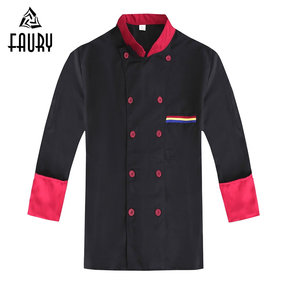 Spliced Color Long Sleeve Double Breasted Restaurant Catering Kitchen Cooking Chef Waiter Work Uniform Food Service Overalls 3XL