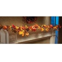 ZMHEGW 1 8M LED Lighted Fall Autumn Pumpkin Maple Leaves Garland Thanksgiving Decor