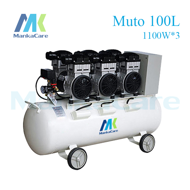 Manka Care 3300W Dental Air compressor 100L Tank Oil Free Rust-proof chamber/Tank/Silent/Flush air pump/ Dental Medical Clinic