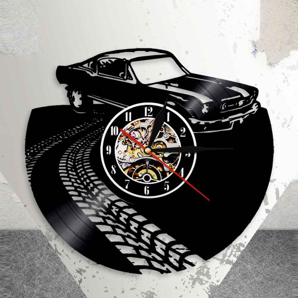 Classic Vintage Retro Car with Road Mark Wall Art Wall Clock Sports Automobile Racecar Vinyl Record Wall Clock Car Lovers Gift