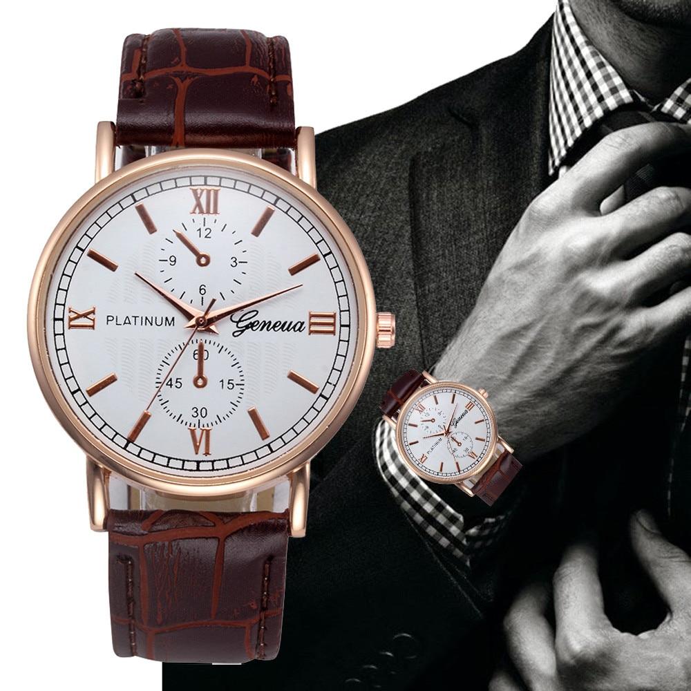 Retro Design Leather Band Analog Alloy Quartz Men relogios Wrist Watch Casual Business Black Brown Gentleman watch Gifts F80
