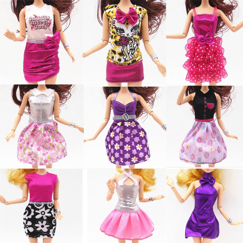 CXZYKING Randomly 10 Sets Fashion Outfit Dress Skirt Clothes For Barbie Doll Party Dress Clothes Aaccessories