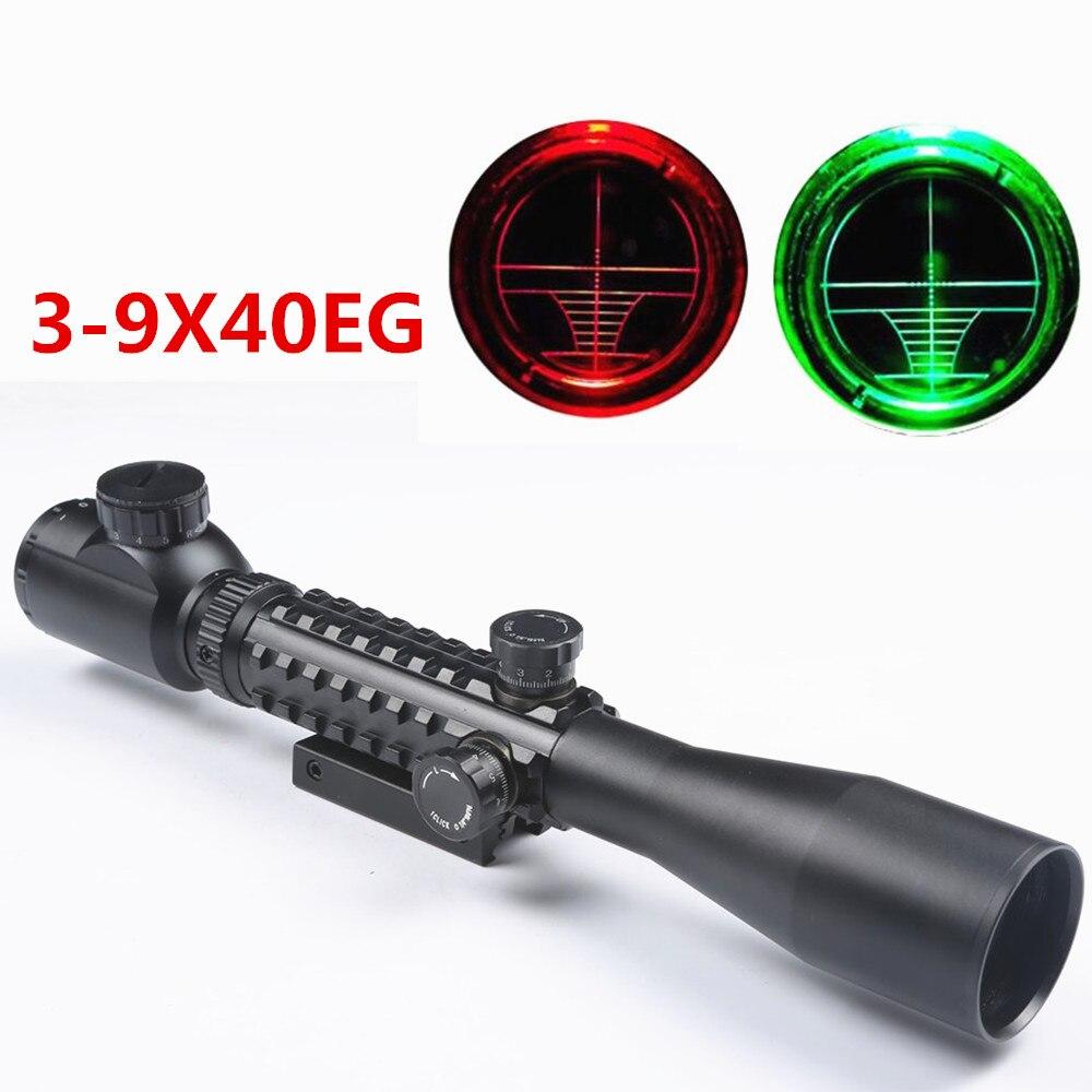 Tactical 3-9X40 EG Red Green Illuminated Optics Sniper Rangefinder Rifle Scope Optical Sight with 11/20mm Rail Mount for Hunting hunting 3 9x40 optics illuminated tactical rifle scope