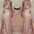 Two Pieces Pink Rhinestone Mermaid Prom Dresses 2016 Sexy Leg Slit Evening Party Dress Long Beaded Chiffon Mermaid Prom Gowns