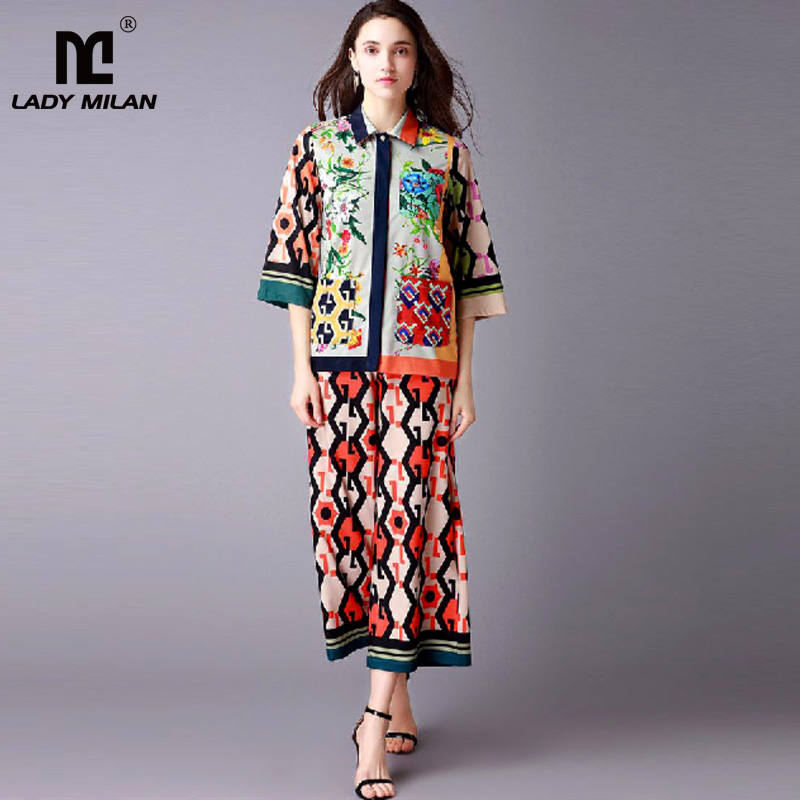 New Arrival 2018 Womens Turn Down Collar 3/4 Sleeves Loose Shirts with Mid Calf Pants Fashion Ruwnay Twinsets