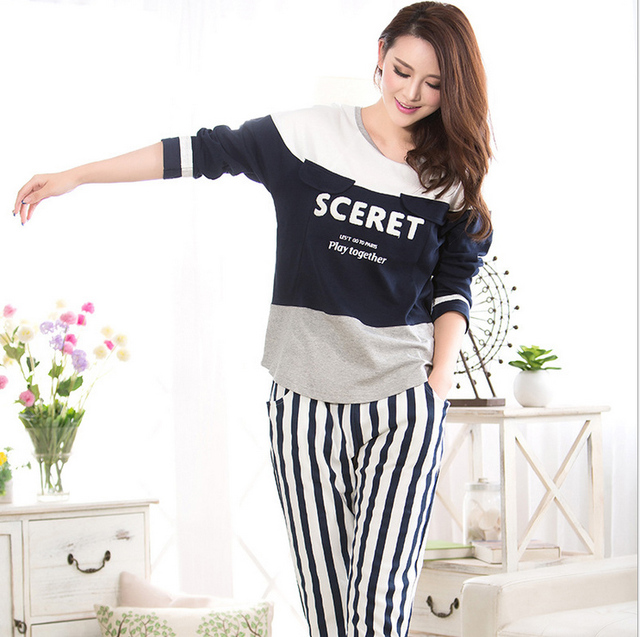 Aliexpress.com : Buy New Ladies Cotton Pajamas Set Fashion Sports ...