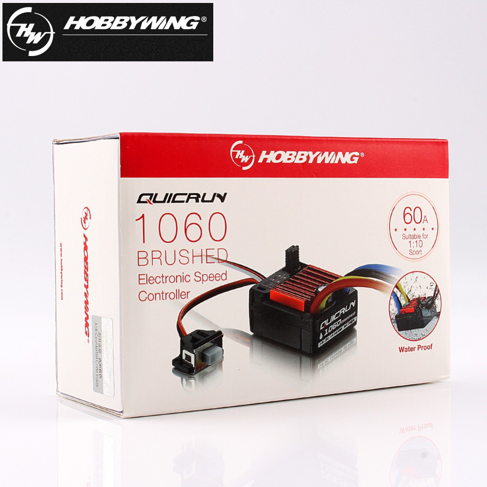 1pcs Original HobbyWing QuicRun 1060 60A Brushed Electronic Speed Controller ESC For 1:10 RC Car Waterproof For RC Car1pcs Original HobbyWing QuicRun 1060 60A Brushed Electronic Speed Controller ESC For 1:10 RC Car Waterproof For RC Car