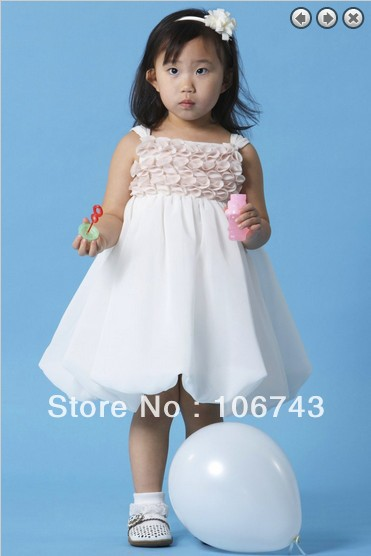 free shipping customized 2016 hot white short Sleeveless chiffon   flower     girl     dress   for wedding princess   dress   for   girls
