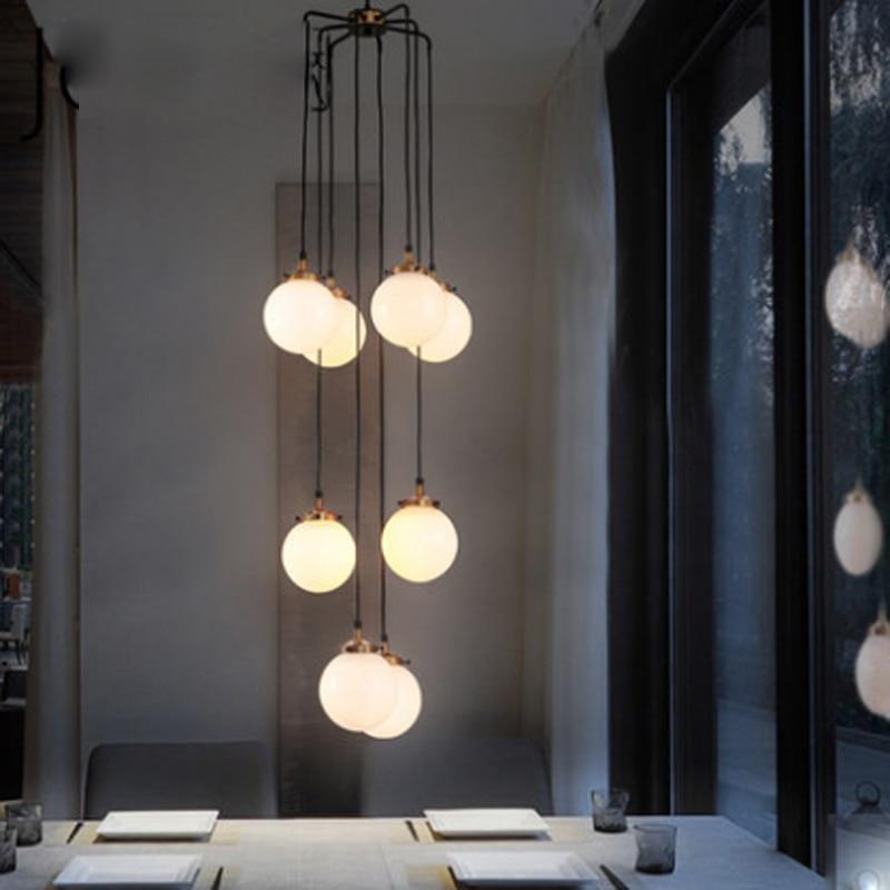 Design de haricot magique minimaliste postmoderne boule de verre blanc suspension lampe nordique créative restaurant décoration LED E27 éclairage