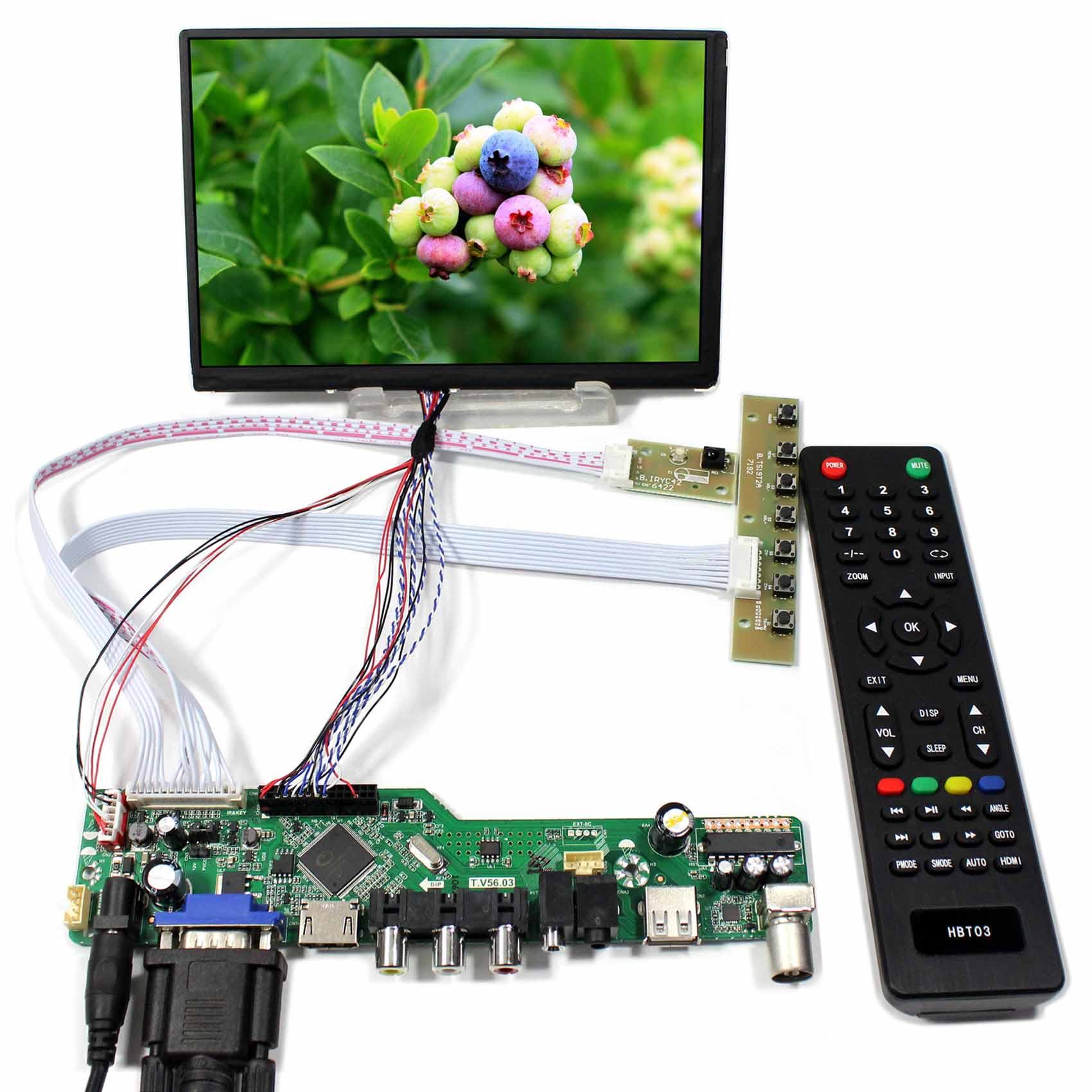 TV PC HDMI CVBS RF USB AUDIO LCD driver Board with 7inch N070ICG-LD1 1280x800 39pin lcd screenTV PC HDMI CVBS RF USB AUDIO LCD driver Board with 7inch N070ICG-LD1 1280x800 39pin lcd screen