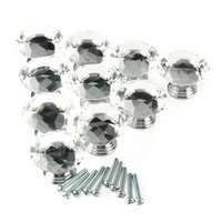 10Pc 40mm Crystal Glass Diamond Shape Cabinet Knob Drawer Pull Handle Kitchen