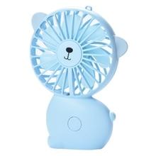 Usb Handheld Fan Cute Cartoon Three-Speed Big Wind Night Light Charging Handheld Wind Portable Small Fan(Blue)