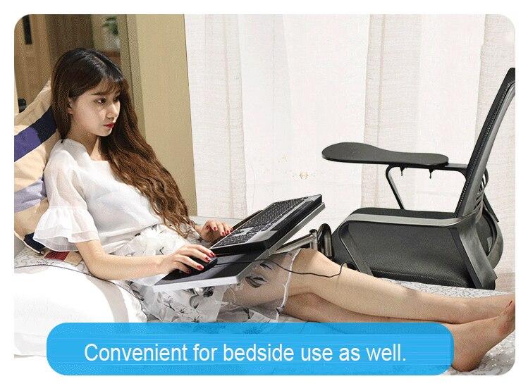 Plein mouvement multifonctionnel arc chaise de serrage clavier/tapis de souris Support bureau d'ordinateur portable Support tablette PC Stand - 3