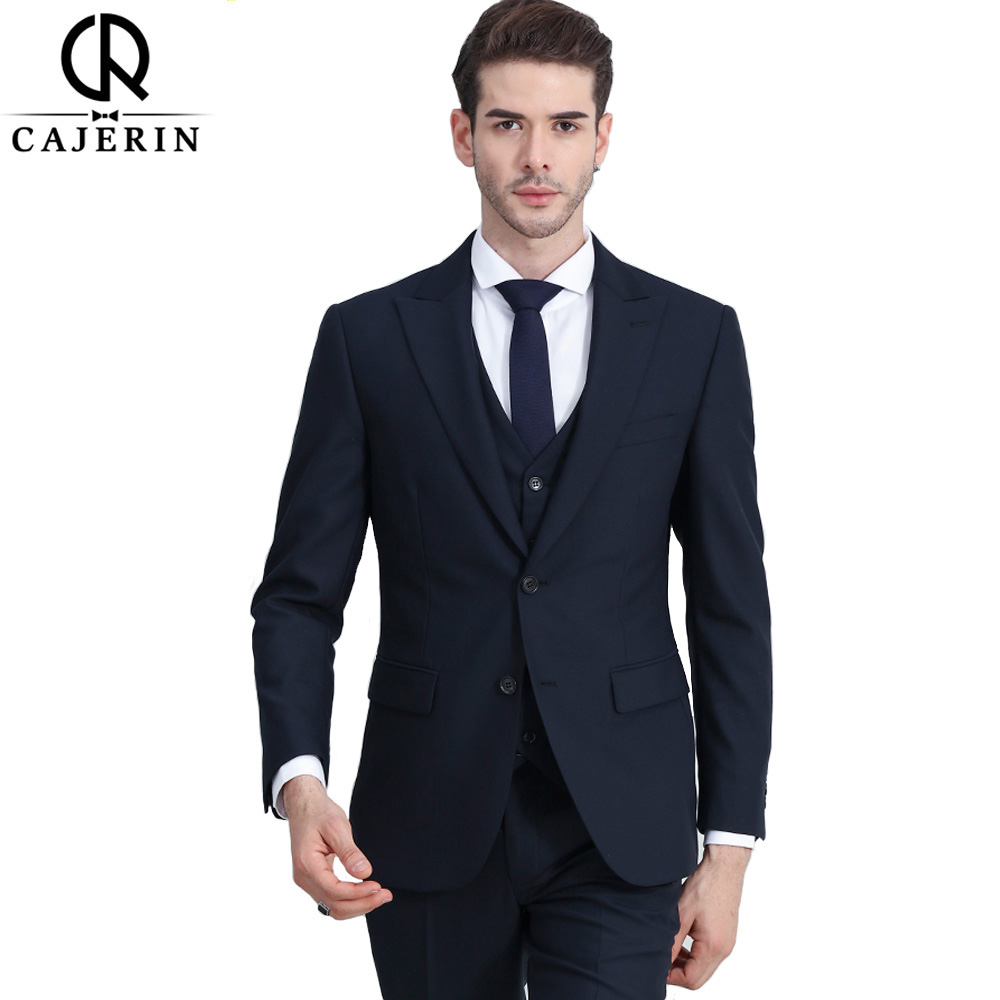 Cajerin Wool Clothing Wedding Men Suit Tailor Blazer Blue