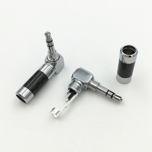 """Image 2 - 10Pcs Carbon Fiber Body Rhodium Plated 1/8"""" 3.5mm 3 Pole Right Angle L Stereo Male Plug Audio Jack Connector"""