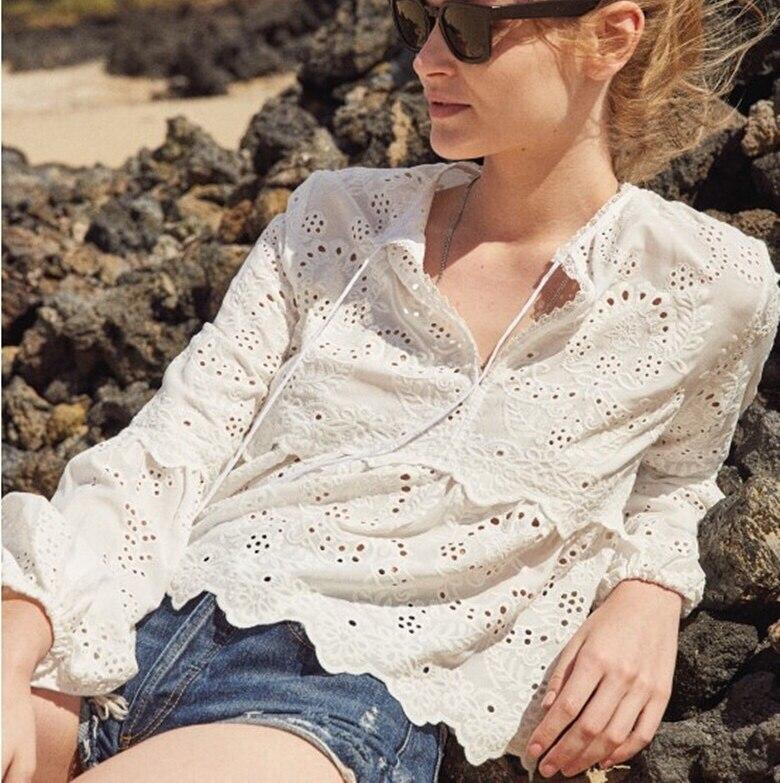 Livraison gratuite 2018 nouveau style bohème vacances col en V lanterne manches femmes dentelle évider blouse coton broderie chemise