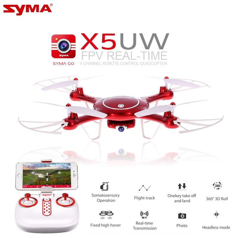 Più nuovo SYMA X5UW Drone 720 P WIFI FPV Con 2MP HD Macchina Fotografica Elicottero Altezza Tenere Una Chiave Land 2.4G 4CH 6 Assi RC Quadcopter